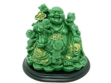 laughing buddha with kids sculpture