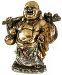 laughing buddha with a bundel sculpture