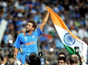 sachin and india flag